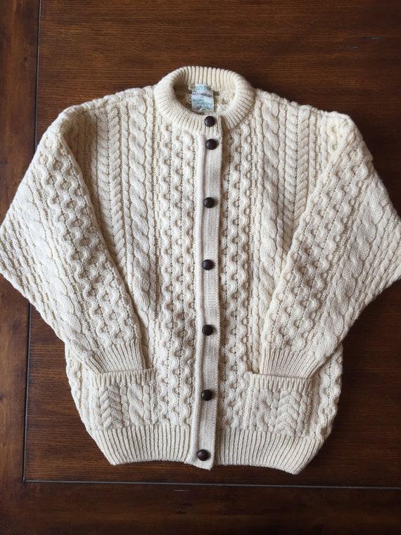 Vintage Cladyknit Irish Knit Wool Cardigan wth Poc