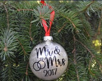 Mr and Mrs Christmas Ornament, Wedding Gift, First Christmas Ornament, Personalized Ornament, Glitter Ornament, Christmas Tree Ornament