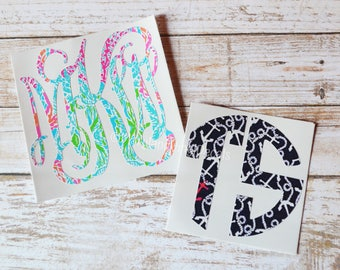 Lilly Pulitzer Inspired Monogram Decal, Lilly Inspired Monogram Decal, Yeti Decal, RTIC Decal, Lilly Monogram, Monogrammed Decal