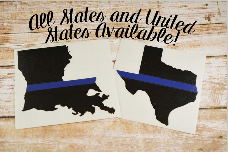 Any State Thin Blue Line Decal, Police Decal, Thin Blue Line Yeti Decal,  Police Wife Decal, Car Decal, Blue Lives Matter, Police Sticker