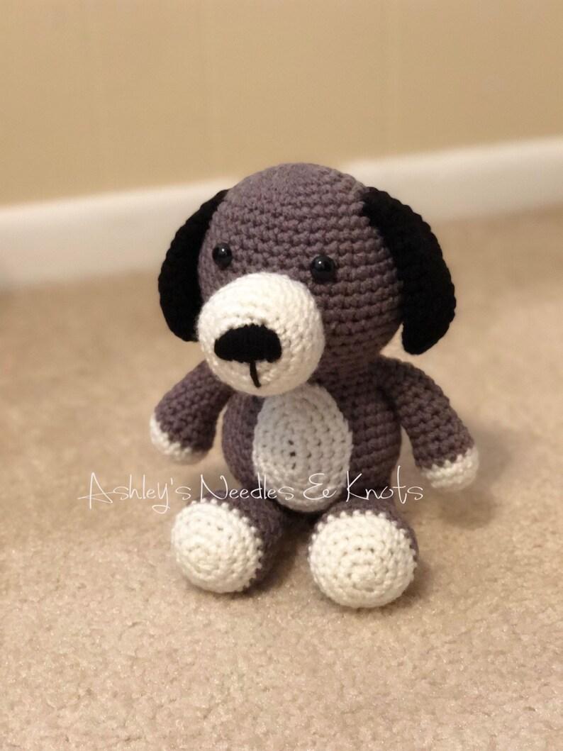 Stuff animal Crochet Toy Dog Gray Plush Dog
