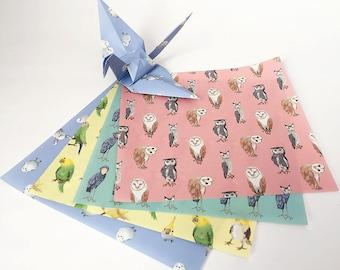 Origami-Papier-Blätter - Vogel-Muster - 48 Blatt