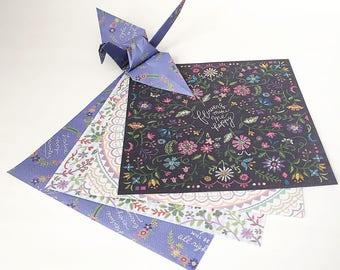 Origami-Papier-Blätter - Blumen-Print-Design Stickmuster - 48 Blatt