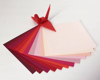 "Origami Paper Sheets - 3"" Red Shades Tant Paper - 96 sheets"