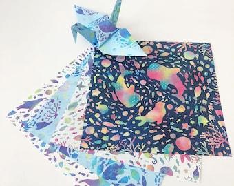Origami Papier Blatt - Aquarium Design-Muster - 48 Blatt
