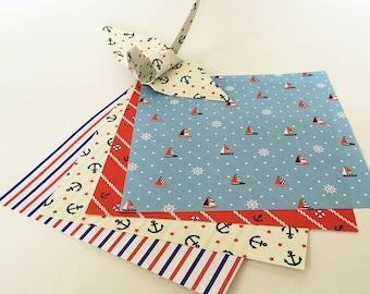 Origami Papier Blatt - Marine-Design-Pattern - 48 Blätter
