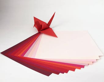 "Origami Paper Sheets - 6"" Red Shades Tant Paper - 48 sheets"