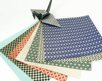 Origami-Papier Blatt - Chiyogami Komon Muster - 8 Blatt