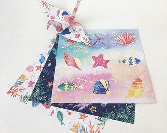 Origami Papier Blatt - bunten Ocean-Design-Pattern - 12 Blatt