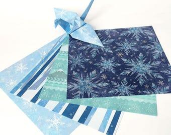 Origami Papier Blatt - Schnee-Design-Pattern - 48 Blatt
