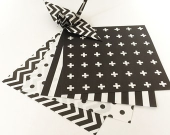 Origami Papier Blatt - Monotone Design stilvoll Papiermuster - 48 Blätter