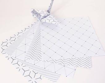 Origami-Papier-Blätter - geometrischen Linien-Muster - 100 Blatt