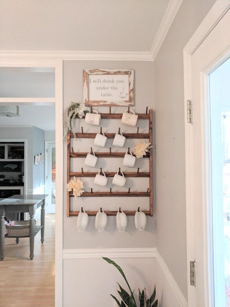 Wood Mug Rack Display Custom Wall Racks Rustic Home Decor image 0