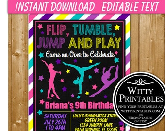 INSTANT DOWNLOAD Gymnastic Invitation Gymnastics Birthday Party Girl GY01IN Printables