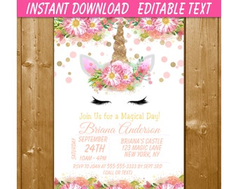 Unicorn Party Invitation INSTANT DOWNLOAD Birthday 4x6 And 5x7 PDF Magical Day Printables Skate
