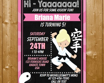 Karate Invitation Printable BirthdayParty INSTANT DOWNLOAD Birthday Party Printables Blond Hair Girl