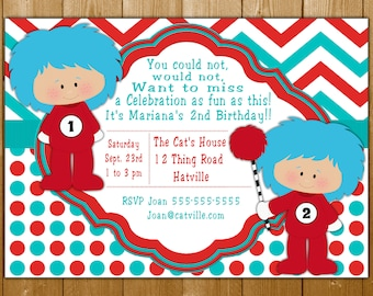 Dr Seuss Invitation With Thing 1 And 2 Plus The Cat In Hat Printable Boy Girl Birthday Party Free Thank You Note