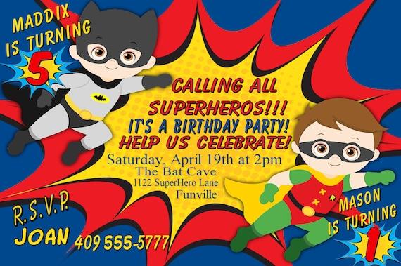 Siblings Batman And Robin Invitation Brothers Birthday Etsy