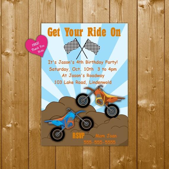 Dirt Bike Birthday Invitation Party