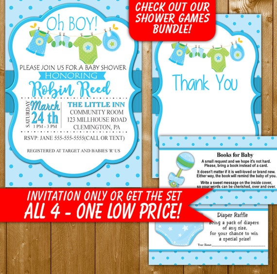 boy baby shower invitations diaper raffle books for baby etsy