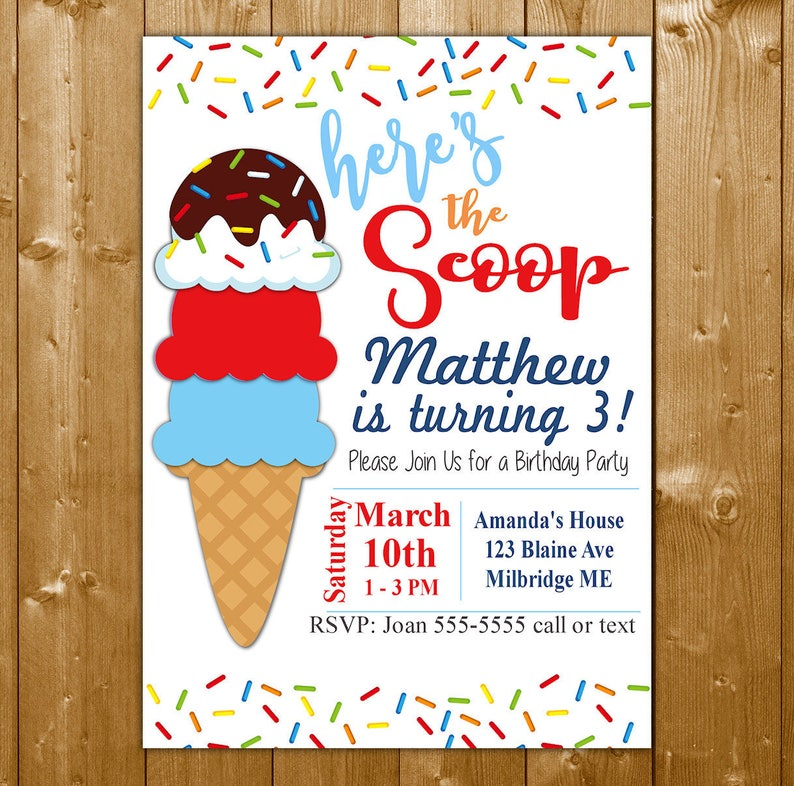 Ice Cream Invitation For A Boy Birthday Party