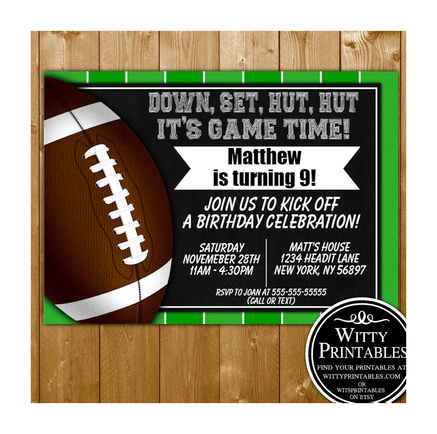 Instant Download Football Invitation Football Party Etsy