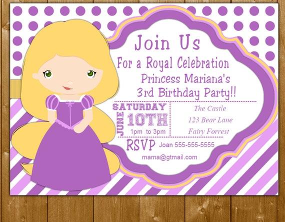 Tangled Birthday Party Invitation Princess Rapunzel