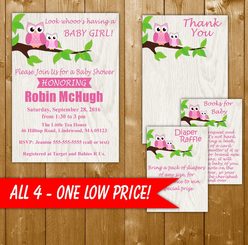 Owl Baby Shower Invitation Girl Owl Baby Shower Invitation Pink Owl Baby Shower Invitation Diaper Raffle Books For Baby Thank You Note