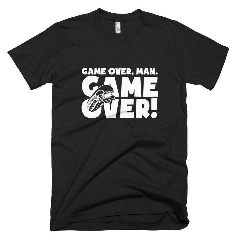 Aliens Mens T-Shirt Game Over Man Horror Film Tee Movie image 0