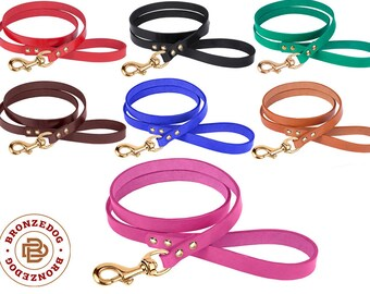 Leather Dog Leash 4 Foot Handmade Strong Lead Puppy Small Large Black Brown Red Mustard