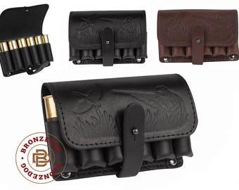 Leather Cartridge Holder, Belt Cartridge Holder, Shell Cartridge Wallet Pouch Shotgun Rifle