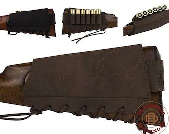 Leather Buttstock Cartridge Holder 12 16 Ga 7.62 cal Rifle Butt Cover Hunting