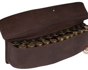 Hunting Leather Ammo Pouch Belt Holder Shotgun Cartridge Case 24 x 12 Ga
