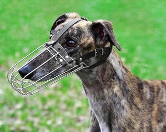 Greyhound Dog Muzzle, Metal Basket Whippet Saluki Dog Muzzle with Adjustable Leather Straps