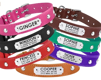 Studded Leather Dog Collar Personalized, Id Tag Collar For Dogs Puppy Red Pink Black Brown Turquoise Small Medium Large