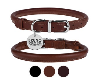 Rolled Leather Dog Collar Personalized, Custom Dog Collar with Round Name Tag, Padded Pet Collars from Small to Large Dogs