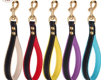 Short Leather Dog Leash Traffic Lead Brass Lock Medium Large Black Pink Red Green Aqua Blue