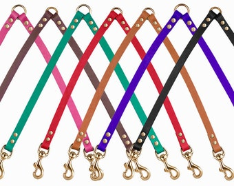 Two Dog Brass Leash Coupler Small Medium Large Red Black Brown Pink Purple