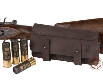 Cartridge Holder, Leather Belt Cartridge Holder, Handmade Shell Cartridge Pouch Shotgun Rifle