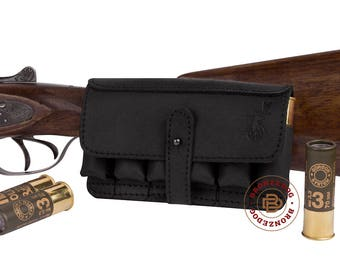Leather Belt Cartridge Holder Handmade Shell Pouch Shotgun Rifle