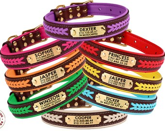 Leather Dog Collar, Personalized Dog Collar, Puppy Collar, Pet Collar, Engraved Dog Collar, Braided Dog Collar, Small Large Dog Collar