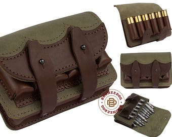 Handmade Hunting Leather Belt Cartridge Holder Shell Pouch Shotgun Rifle