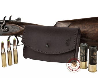 Leather Cartridge Holder, Rifle Cartridge Holder, Cartridge Wallet, Leather Shell Pouch 12 cal or Rifle 7.62 Winchester Norma Magnum