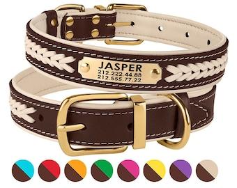 da5db321fffa Dog Collar, Leather Dog Collar, Dog Collar Personalized, Custom Dog Collar,  Puppy Collar, Dog ID Tag