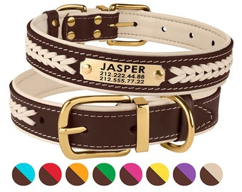 3558bf6f6c86 Dog Collar, Leather Dog Collar, Dog Collar Personalized, Custom Dog Collar, Puppy  Collar, Dog ID Tag