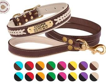 Dog Collar Leash Set, Leather Dog Collar, Dog Leash, Engraved Dog Collar, Personalized Pet Collar, Custom Brass Hardware Soft Padded Beige