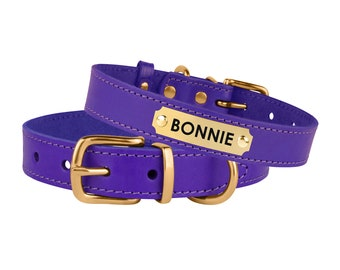 Dog Collar, Leather Dog Collar, Pet Collar Personalized, Purple Puppy Collars with ID Tag, Custom Collars for Dogs