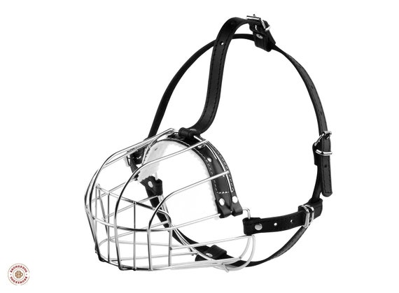 Dog Muzzle Doberman Wire Basket Adjustable Leather Straps