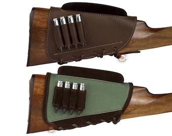 Buttstock Cartridge Holder, Ammo Pouch Case, Rifle Buttstock Holder, Cartridge Holder, Leather Buttstock Cartridge Case, Shell Case