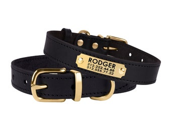 Black Dog Collar or Other 6 Colors, Personalized Leather Dog Collar, Custom Dog Collars with Name Plate, Puppy Collar Small Medium Large